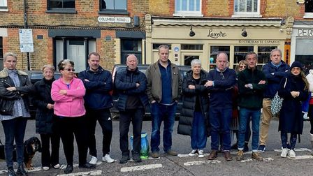 Angry neighbours lining the spot where the council wants a traffic barrier in Columbia Road which th