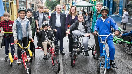 Mayor John Biggs turned up in Columbia Road with kids on bikes hoping residents would give his barri