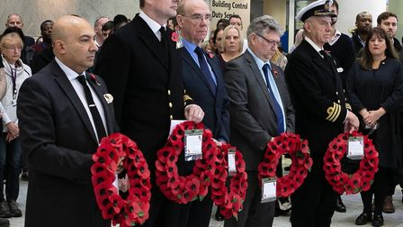 Tower Hamlets and Royal Navy wreaths at the town hall Remembrance on November 11. Picture: Kois Mia