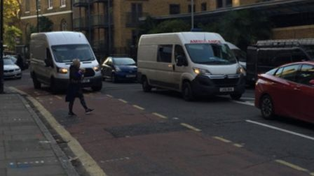 Dawn traffic build-up along Wapping High Street on Day 1 of the bus gate. Picture: Andrew Wood