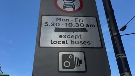 On the side of the road... the only indication that there's a bus gate ahead. Picture: Andrew Wood