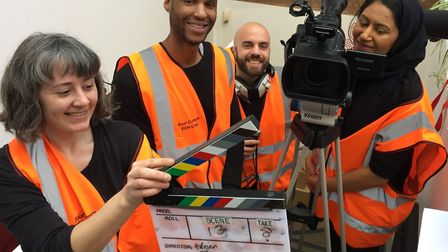 Trainees at Four Corners studios get to grips with film production on a previous course. Picture: Fo