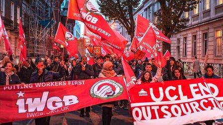 Outsourced workers going on strike at UCL campuses on November 19. Picture: Pietro Sambuy