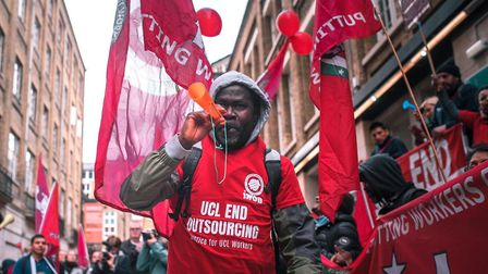 Members of Independent Workers trade union demanding equal employment rights with university's in-ho