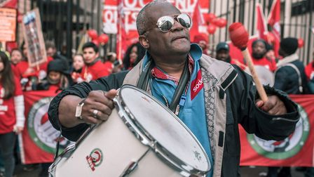 Drumming up support for Independent Workers union strike outside UCL's headquarters. Picture: Pietro