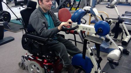 Danny Currie gets lifeline therapy at Ability Bow gym. Picture: Stuart Wilson