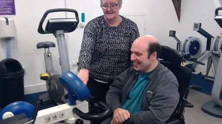 Danny and mum Sharron helped raise £28,000 for Ability Bow therapy gym. Picture: Stuart Wilson