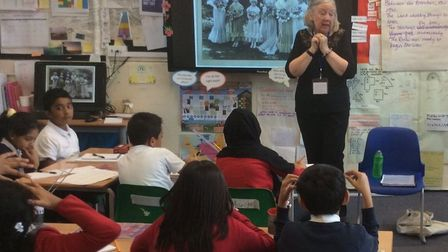 Year 5 class learning about Maylower Primary's history during centenery year in 2017 about First Wor