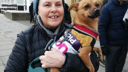 College tutors on strike at New City get official canine support on the picket at the Poplar campus.
