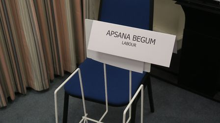 Empty chair left for Labour's Apsana Begum who stayed away from Poplar & Limehouse general election
