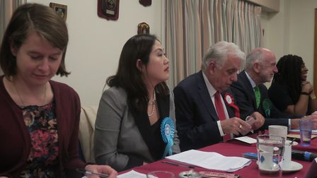 Labour's rivals who did attend Poplar & Limehouse hustings: Liberal Democrat substitute (far left),