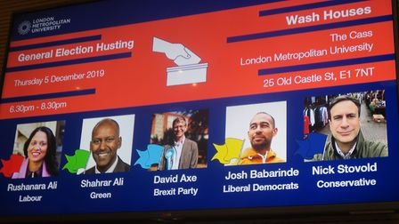 Six candidates for Bethal Green and Bow... Labour, Green, Brexit, Liberal Democrat Conservative and