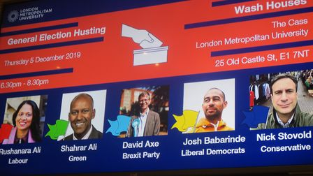 Five candidates for Bethnal Green & Bow... but one face is missing. Picture: Mike Brooke
