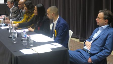 Panel of five of the six candidates with Met University vice chancellor Zainab Khan (yellow top) cha