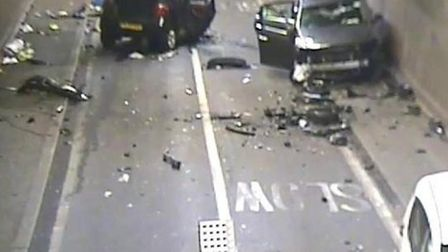 Car smash closes Rotherhithe Tunnel. Picture: TfL