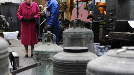 The Queen on an historic visit to see the workings of the Whitechapel bell foundry on March 25, 2009