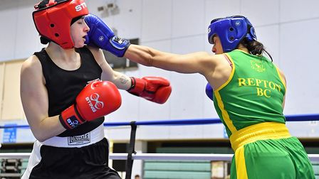 Repton's Laura Akram hits out (pic Andy Chubb/England Boxing)