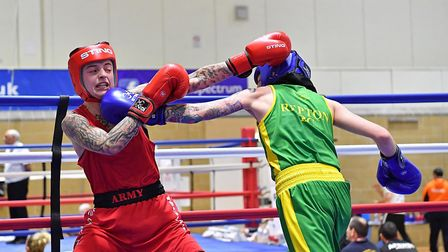 Repton's Chelsea Estelle hits out (pic Andy Chubb/England Boxing)