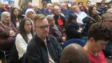 One of the many packed hustings that have been held in the East End in the past two weeks. Picture: