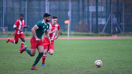 Action from the Essex Senior League derby between Sporting Bengal United and Clapton at Mile End Sta