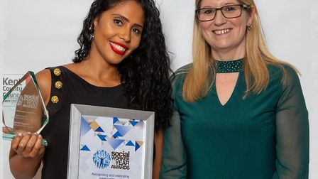 Practice educator of the year... Djamila Aggabi (left) with her award, presented by Ann-Marie Brierl