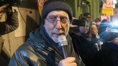 """Michael Rosen at the candle vigil... """"These people daub swastikas to intimidate us."""" Picture: Mike B"""