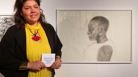 Alice Motte-Mun~oz with her drawing Reverie which scooped first prize. Picture: Lewis Khan