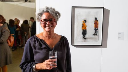 Shelly Tregoning with her drawing Distracted, Distracted which won second prize. Picture: Lewis Khan