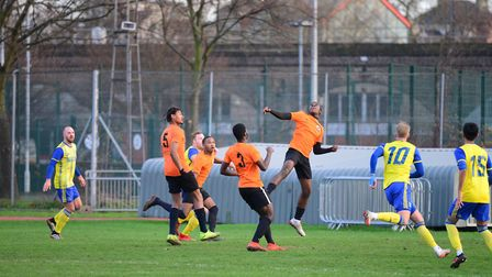 Action from Tower Hamlets clash with Hashtag United at Mile End Stadium (pic Tim Edwards)