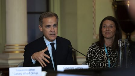 Bank of England governor Mark Carney meets finance chiefs from Canary Wharf and the City. Picture: E