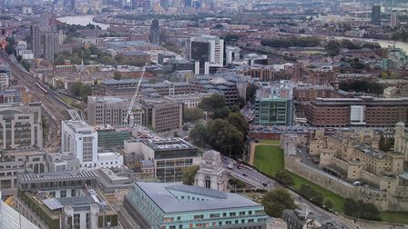 Massive expansion... London's East End looking from the Tower of London (far right) towards Canary W