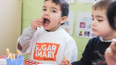 Even toddlers at Allen Gardens nursery school in Spitalfields have joined the council's 'sugar smart