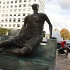 Old Flo today... Henry Moore's 'Draped Seated Lady' bronze sculpture now on public display at Canary