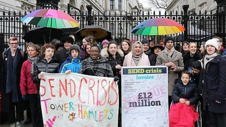 Protesting parents at Downing Street after marching from Parliament Square. Picture: LBTH