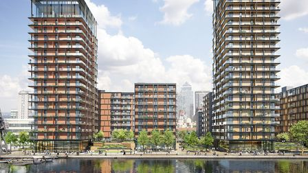 Westferry scheme with skyscrapers right down to the waterfront at Millwall. Picture: Mace