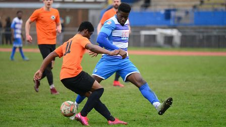 Action from the Essex Senior League match between Tower Hamlets and Ilford at Mile End Stadium (pic