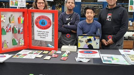Students from New City Tower Hamlets college selling their 'Wonky Wallets' brand. Picture: Young Ent