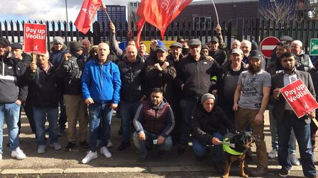Refuse collectors and strike supporters on the picket line. Picture: Sophie Cox