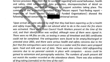 Part of an internal report following an audit of services at the council-owned Caxton Hall.