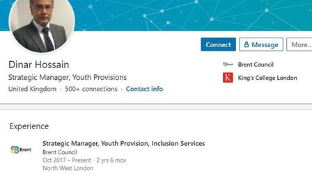 Dinar Hossain's LinkedIn page has not been updated since he left a senior role at Brent Council.