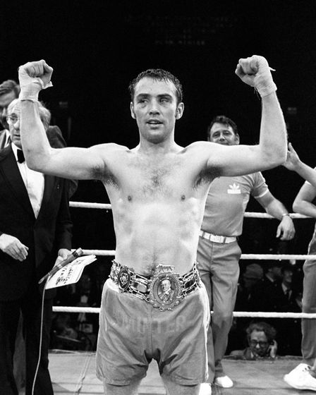 Alan Minter wearing the Lonsdale belt after regaining the British middleweight championship