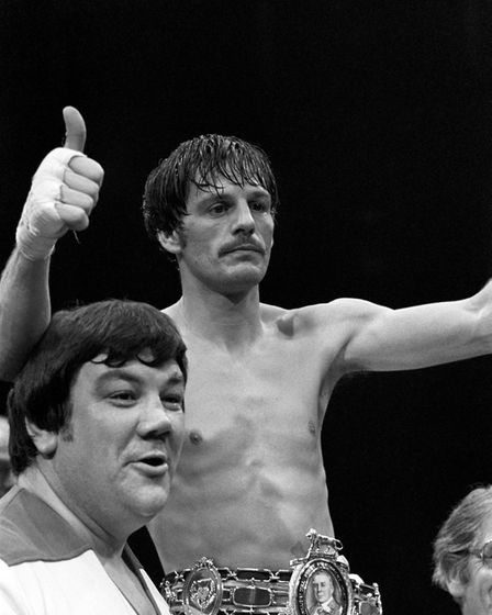 Thumbs up from new British featherweight champion Pat Cowdell after he outpointed defending champion