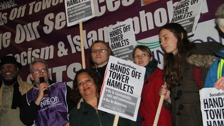 Frontline workers picketting Tower Hamlets Council in 2019 at the start of their dispute over workin