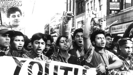 Bengali youths on anti-fascist march down Brick following Altab's murder. Picture: Paul Trevor