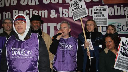 Pickets outside Tower Hamlets town hall last summer when the dispute over new working contracts bega