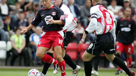 Lee Steele in action against Cheltenham Town during the 2005/06 promotion season (Pic: Simon O'Conno