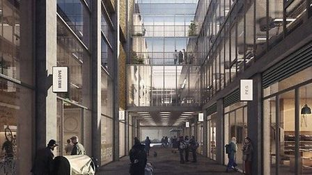 A visualisation of the finished development on the junction of Brick Lane and Woodseer Street, as su