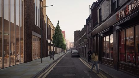 A visualisation of Woodseer Street with the new development on the left, as proposed in plans submit