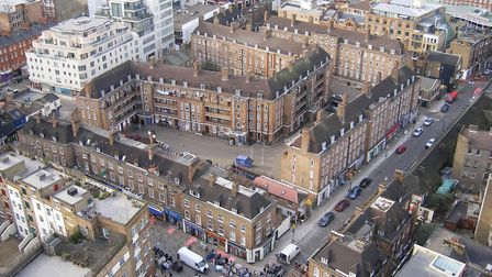 Bird's eye view of Holland Estate in Spitalfields, cheek-by-jowl with The City and Petticoat Lane Ma
