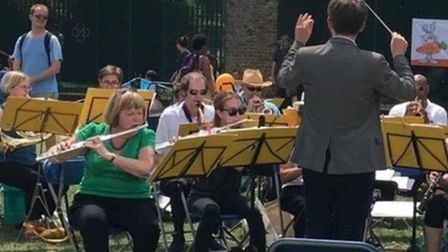 East London's community band performing 'al fresco' in Millwall Park before the lockdown. Picture: E